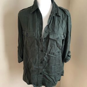Zara Denim green top size L